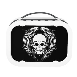 Grinning Tattoo Skull and Wings Lunchbox