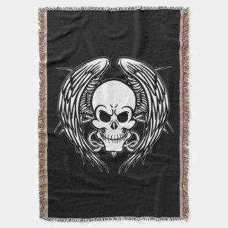 Grinning Tattoo Skull and Wings Throw Blanket