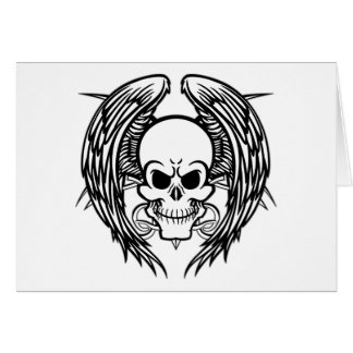 Grinning Tattoo Skull and Wings with Tribal Greeting Card