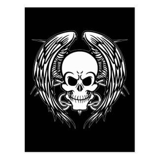 Grinning Tattoo Skull and Wings with Tribal Postcard