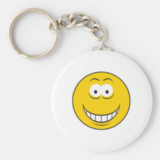 Grinning Yellow Smiley Face Basic Round Button Key Ring