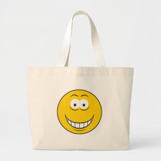 Grinning Yellow Smiley Face Jumbo Tote Bag