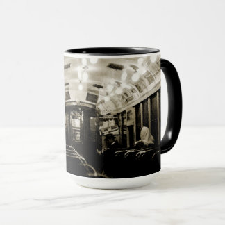 GRITTY CHICAGO SUBWAY WATERCOLOR 1950'S SEPIA MUG