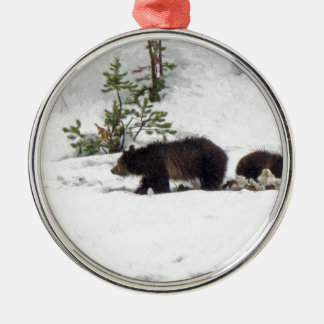 Grizzlies in the Snow Silver-Colored Round Decoration