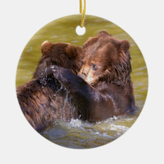 Grizzlies in the water ceramic ornament