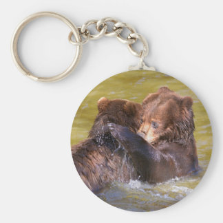 Grizzlies in the water key ring
