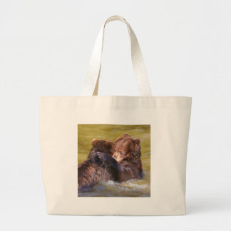 Grizzlies in the water large tote bag