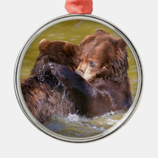 Grizzlies in the water metal ornament