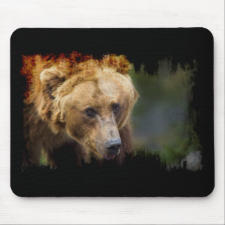 Grizzly Bear Black Grunge Border Mouse Pad