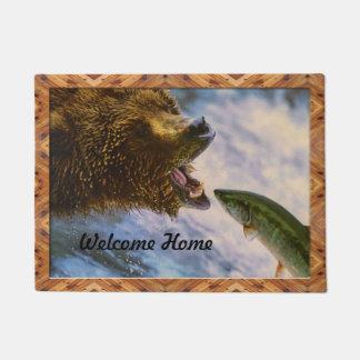 Grizzly Bear Catching Steelhead Salmon Doormat