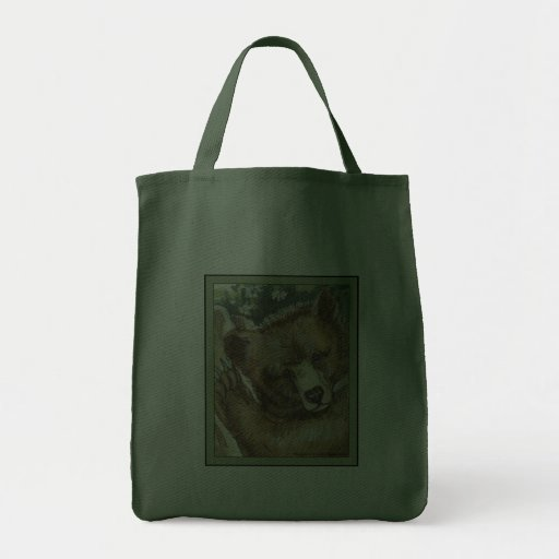 Grizzly Bear Cub and Tree Stump Bag