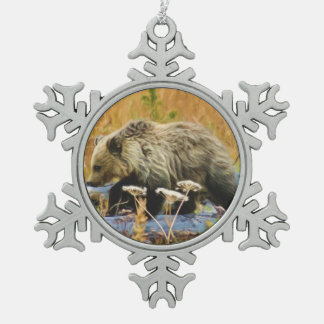 Grizzly Bear Cub Pewter Snowflake Decoration