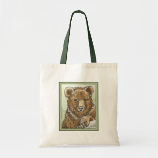 Grizzly Bear Cub Watching Canvas Bags