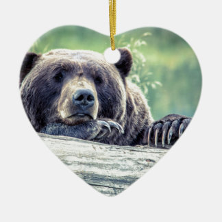 Grizzly Bear Design Ceramic Ornament