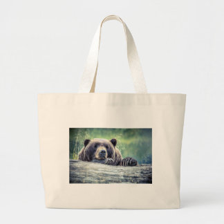 Grizzly Bear Design Large Tote Bag