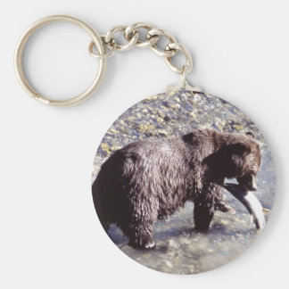Grizzly Bear Eating a Salmon Key Ring