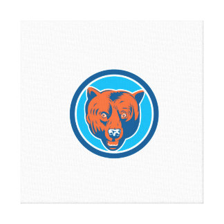 Grizzly Bear Head Front Circle Retro Gallery Wrapped Canvas