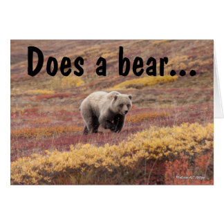 Grizzly Bear In Autumn Alaska Foliage Card