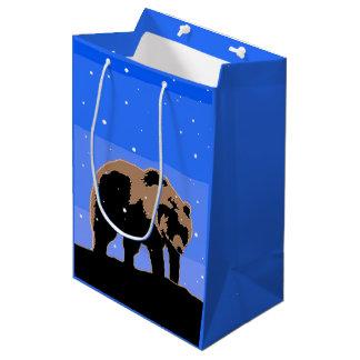 Grizzly Bear in Winter  - Original Wildlife Art Medium Gift Bag