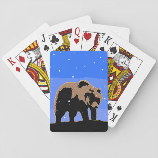 Grizzly Bear in Winter  - Original Wildlife Art Playing Cards