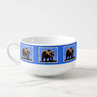 Grizzly Bear in Winter Soup Bowl With Handle