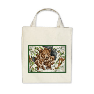 Grizzly Bear Mother and Cubs in Winter Canvas Bag