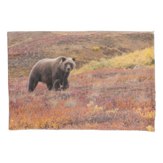Grizzly Bear Moves Through Autumn Colors In Alaska Pillowcase