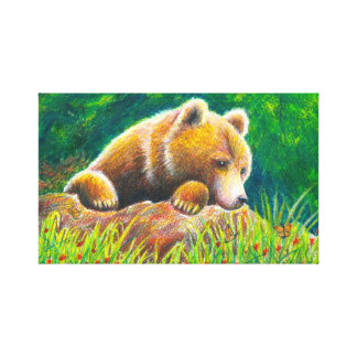 Grizzly Bear Nature Art Canvas Print