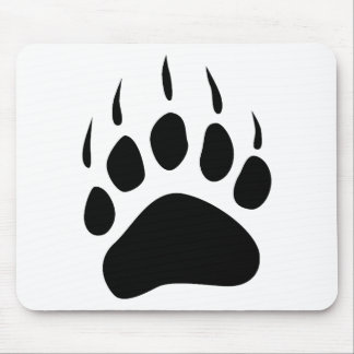 Grizzly Bear Paw Black Silhouette Mousepad