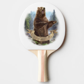 Grizzly Bear Ping Pong Paddle