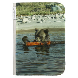 Grizzly Bear Playing Kindle Folio Cases