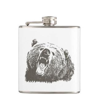 Grizzly Bear Roar Hip Flask