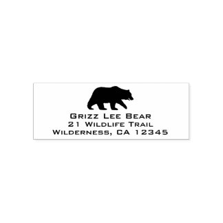 Grizzly Bear Silhouette Return Address Self-inking Stamp