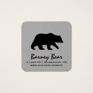 Grizzly Bear Silhouette Square Business Card