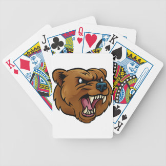 Grizzly Bear Sports Mascot Angry Face Bicycle Playing Cards