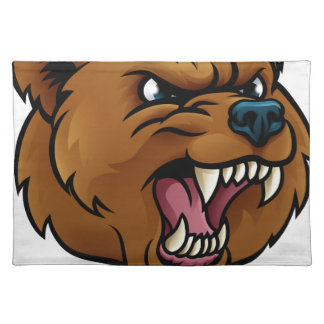 Grizzly Bear Sports Mascot Angry Face Placemat