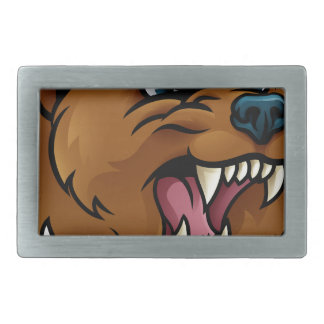Grizzly Bear Sports Mascot Angry Face Rectangular Belt Buckles