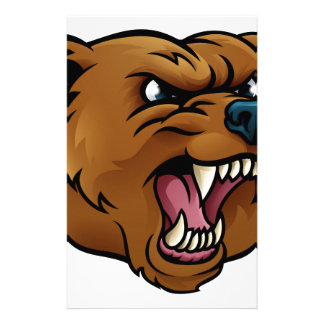 Grizzly Bear Sports Mascot Angry Face Stationery