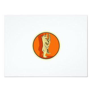 Grizzly Bear Standing Circle Retro 17 Cm X 22 Cm Invitation Card