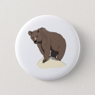 grizzly-bear-standing-on-rock-vector-clipart 6 cm round badge