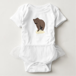 grizzly-bear-standing-on-rock-vector-clipart baby bodysuit