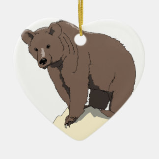 grizzly-bear-standing-on-rock-vector-clipart ceramic ornament
