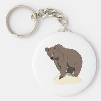 grizzly-bear-standing-on-rock-vector-clipart key ring