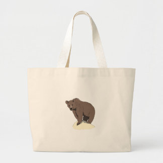 grizzly-bear-standing-on-rock-vector-clipart large tote bag