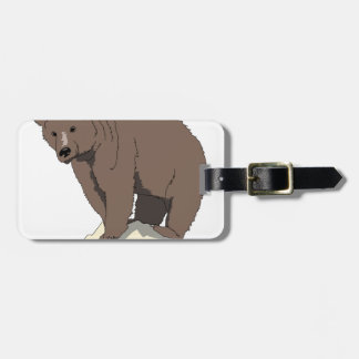 grizzly-bear-standing-on-rock-vector-clipart luggage tag