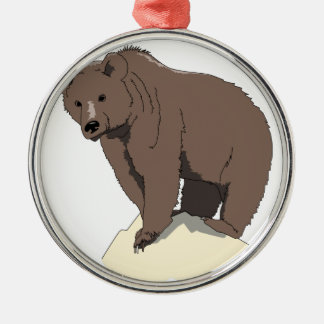 grizzly-bear-standing-on-rock-vector-clipart metal ornament
