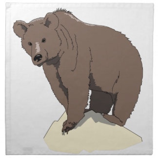 grizzly-bear-standing-on-rock-vector-clipart napkin