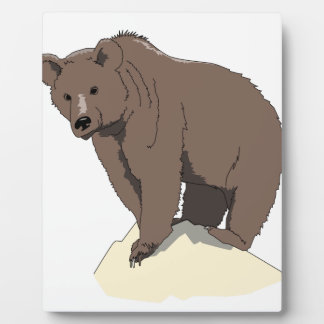grizzly-bear-standing-on-rock-vector-clipart plaque