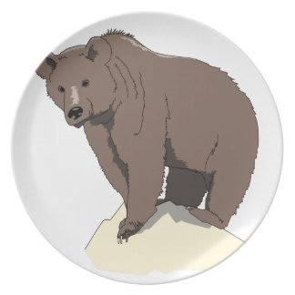 grizzly-bear-standing-on-rock-vector-clipart plate