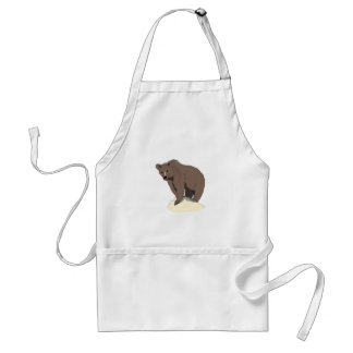 grizzly-bear-standing-on-rock-vector-clipart standard apron
